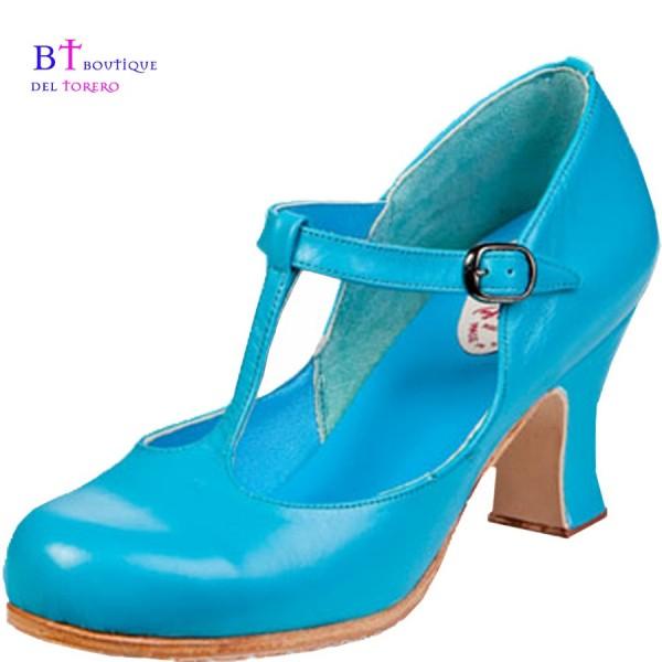 Zapato baile flamenco tacón de carrete con una correa