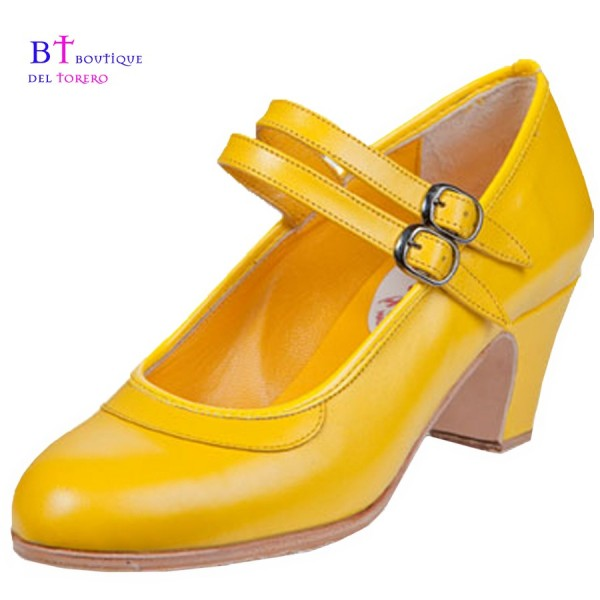 Zapato flamenco profesional amarillo con doble correa en paralelo