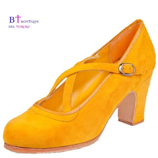 Zapato flamenca profesional con dos correas cruzadas
