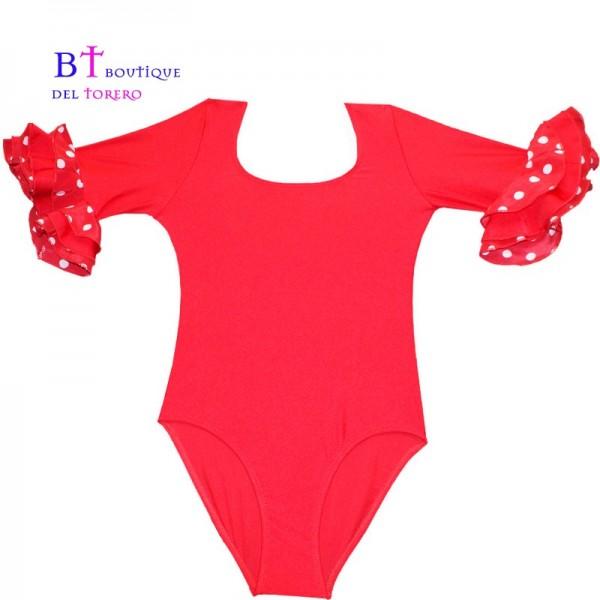 maillot rojo con volante para baile flamenco