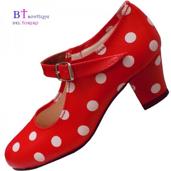 Zapato feria rojo lunar blanco