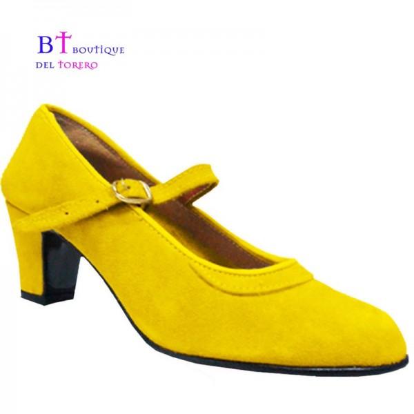 Zapato flamenco ante amarillo