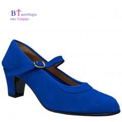 Zapato flamenco ante azulón