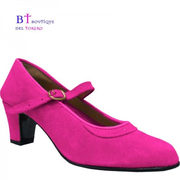 Zapato flamenco ante fucsia