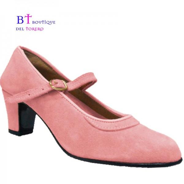 Zapato flamenca en piel rosa