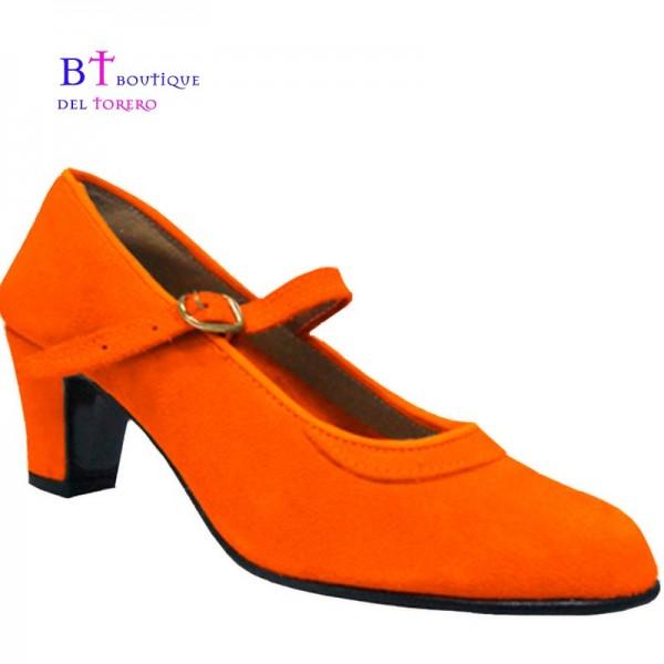 Zapato flamenca naranja en ante