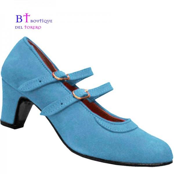 Zapato flamenca corras paraletas en ante celeste