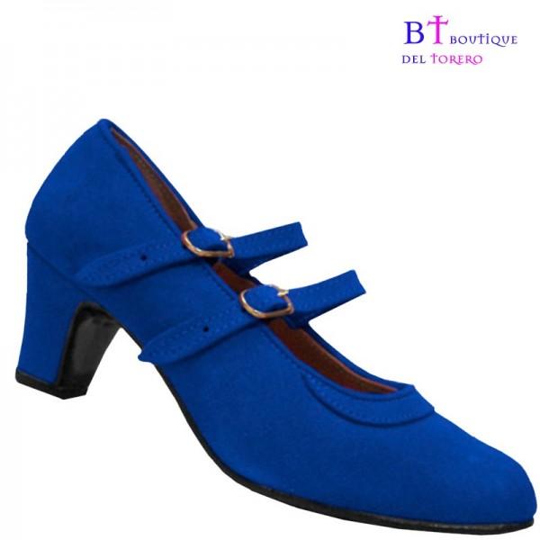 zapato flamenca con dos correas paralelas en piel