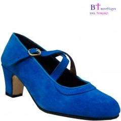 Zapato flamenco con dos correas cruzadas en piel