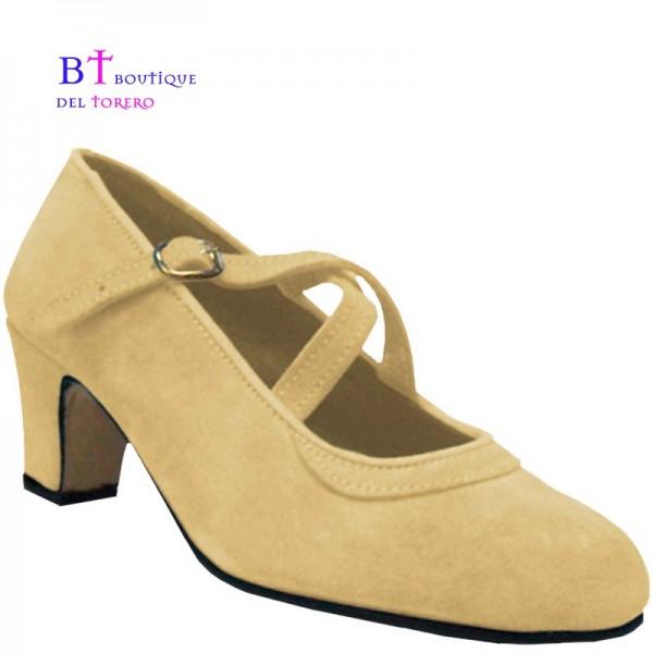 Zapato de flamenca beige con dos correas cruzadas