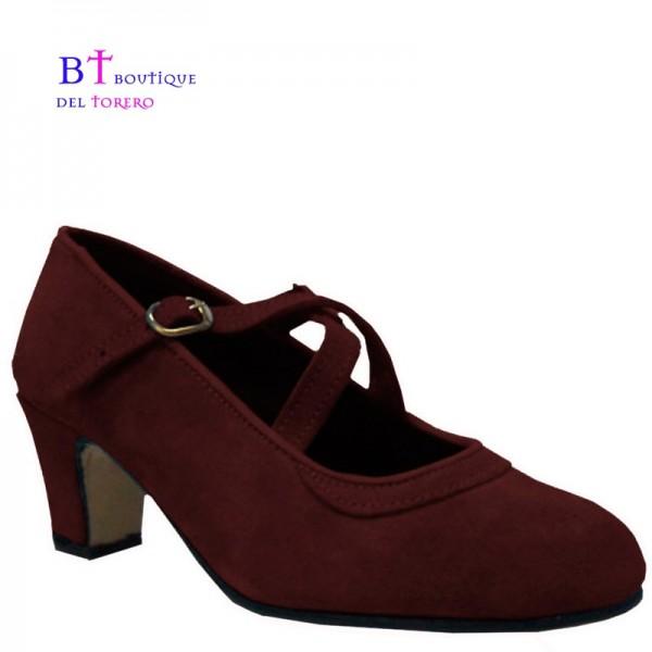 Zapato baile flamenco doble correa piel marrón