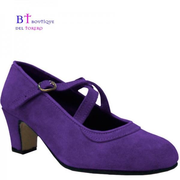 Zapato flamenco doble correa cruzadas piel lavanda