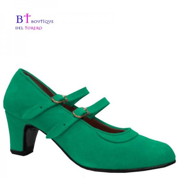 Zapato flamenco correas paralelas verde