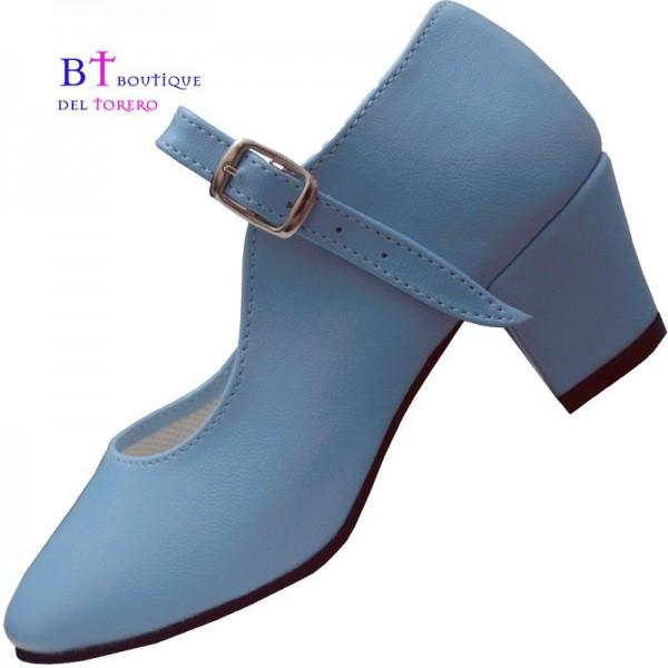 Zapato flamenco azul celeste barato