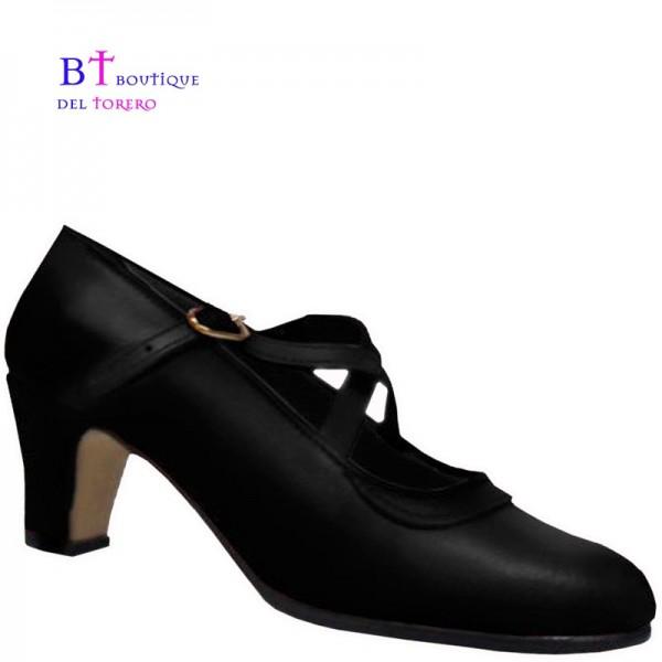 Zapato baile flamenco en piel con dos correas cruzadas