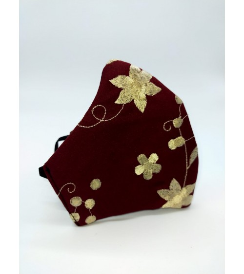 Mascarilla de flamenca. Marrón con flores beige