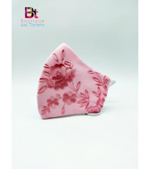Mascarilla de flamenco primavera rosa flores bordadas rosas